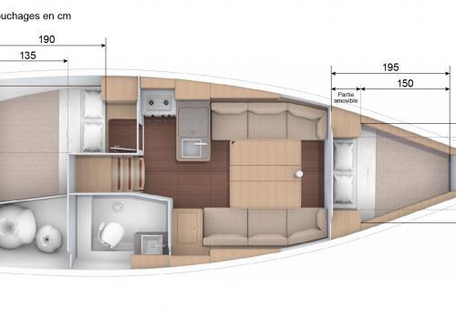 Plan intérieur DUFOUR 310 - Bisou Salé