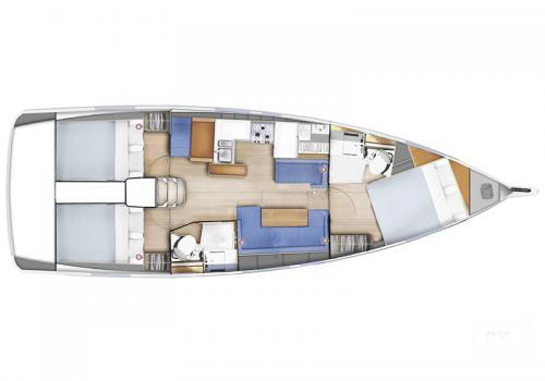Plan intérieur SUN ODYSSEY 410 - Jeanne